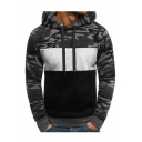 Color Block Camouflage Panel Long Sleeve Slim Hoodie for Men