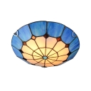 Blue/Yellow Circular Grid Pattern Mediterranean Style Flush Mount Light with Tiffany Stained Glass Bowl Shade 15.75