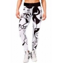 Cartoon Woman Letter Print Elastic Waist Skinny Yoga Leggings