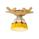 Yellow&White Checkered Dome Shade Semi Flush Light with Wooden Antler Shape Canopy