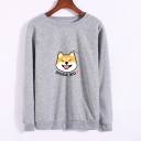 Lovely SHIBA INU Letter Animal Print Round Neck Long Sleeve Sweatshirt