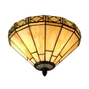 Green Diamond Pattern 12 Inch Flush Mount Ceiling Light in Tiffany Stained Glass Style