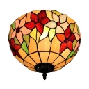 Floral Theme 2-Light Flush Mount Ceiling Fixture Up Lighting in Tiffany Style, 12 Inch Wide, Multicolored