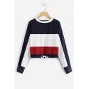 Drawstring Hem Color Block Round Neck Long Sleeve Pullover Sweatshirt