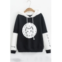 Drawstring Hood Japanese Cat Print Color Block Long Sleeve Hoodie