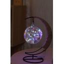LED Glass Ball Pendant Light Moon Shape Desktop USB Connection Lamp