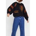 Colorful Straps Embellished Round Neck Long Sleeve Loose Sweatshirt