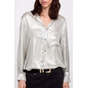 Lapel Collar Button Front Long Sleeve Metal Collar Shirt