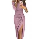Sexy Shiny Off The Shoulder 3/4 Length Sleeve Split Front Midi Pencil Dress