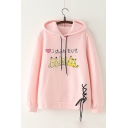 Japanese Cat Print Lace Up Detail Long Sleeve Hoodie