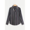 Striped Lapel Collar Long Sleeve Leisure Pullover Shirt