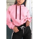 Autumn Hot Fashion Long Sleeve Red Ribbon Embellished Cropped Cute Hoodie