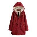 Plain Long Sleeve Sherpa Lined Zipper Front Hooded Coat