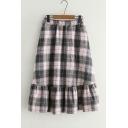 Chic Plaid Elastic Waist Ruffle Hem Midi A-Line Skirt