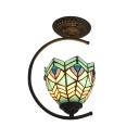 Tiffany Peacock Tail Bowl Shade Up Lighting Semi Flush Light with Jewels in Rustic Style