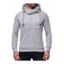 Plain Long Sleeve Drawstring Hood Slim Sports Hoodie
