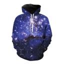3D Starry Sky Print Long Sleeve Casual Hoodie