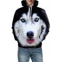 Comic 3D Husky Print Long Sleeve Unisex Hoodie