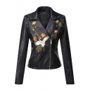 Crane Floral Embroidered Notched Lapel Collar Long Sleeve Offset Zip Closure Cropped Leather Jacket