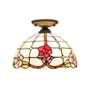 Floral Theme Flush Mount Lamp Downward with Tiffany 12