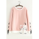 Color Block Letter Cat Embroidered Lace Up Detail Long Sleeve Round Neck Sweatshirt