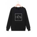 THE 1975 Letter Print Round Neck Long Sleeve Pullover Sweatshirt