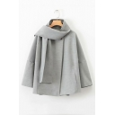 Crew Neck Long Sleeve Single Button Plain Cape Coat with Scarf
