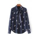 Bird Print Lapel Collar Long Sleeve Concealed Button Front Shirt