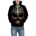 Skull Blood Print Long Sleeve Loose Hoodie