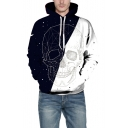 Color Block Skull Geometric Print Long Sleeve Casual Hoodie