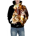 Cool 3D Lion Pattern Drawstring Hood Long Sleeve Unisex Hoodie