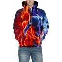 3D Fire Couple Print Long Sleeve Unisex Hoodie
