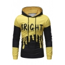 BRIGHT Letter Color Block Long Sleeve Slim Hoodie