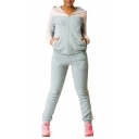 Color Block Zip Up Long Sleeve Hoodie with Casual Pants Sports Co-ords