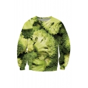 Funny 3D Broccoli Printed Long Sleeve Crewneck Green Pullover Sweatshirt