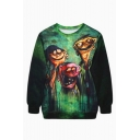Green Crew Neck Long Sleeve Digital Cartoon Printed Long Sleeve Pullover Sweatshirt