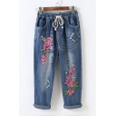 Faded Floral Embroidered Drawstring Waist Distressed Detail Loose Cropped Jeans