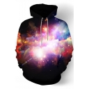 Star Galaxy Print Long Sleeve Loose Hoodie