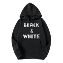 BLACK WHITE Letter Print Long Sleeve Hoodie for Men
