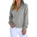 Eyelet Detail Hollow Out Front Long Sleeve Plain Hoodie