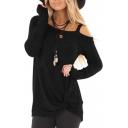 Plain Hollow Out Shoulder Twist Front Long Sleeve T-Shirt