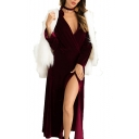 Elegant Velvet V Neck Plain Long Sleeve Split Front Maxi Wrap Dress