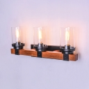 Vintage Style Wood Glass Shade 3 Light Wall Sconce Ambient Lighting for Hallway Indoor Bedroom