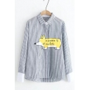 Cute Letter Dog Print Striped Lapel Collar Long Sleeve Shirt