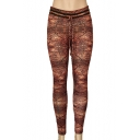 Yarn Print Drawstring Waist Skinny Yoga Leggings