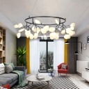 Post Modern Designers Lighting Glowworm LED Chandelier Frosted Glass Heracleum II LED Pendant Lights in Black Finish 4 Sizes for Option