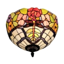 Vintage Classic Art Tiffany 2-Light Flush Mount Ceiling Fixture with Dragonfly and Floral Glass Shade, Multicolored, 12-Inch Wide