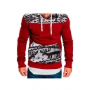 Contrast Deer Snowflake Print Long Sleeve Slim Hoodie for Men