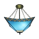 3-Light Semi-Flush Ceiling Fixture in Tiffany Style with Blue Stained Glass, 18-Inch Wide Lampshade