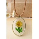 Dried Sun Floral Pendant Crystal Glass Necklace